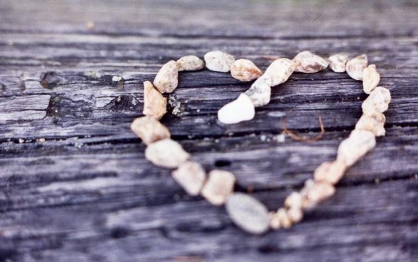 Фото обои макро, сердце, камушки, деревяшка
