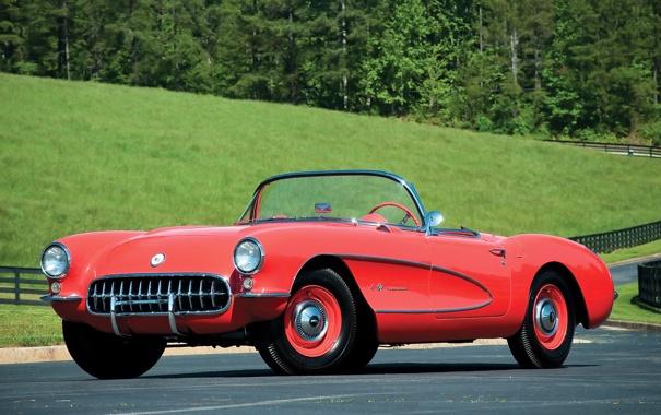 Фото обои красный, кабриолет, спортивный, Красивый, Корвет