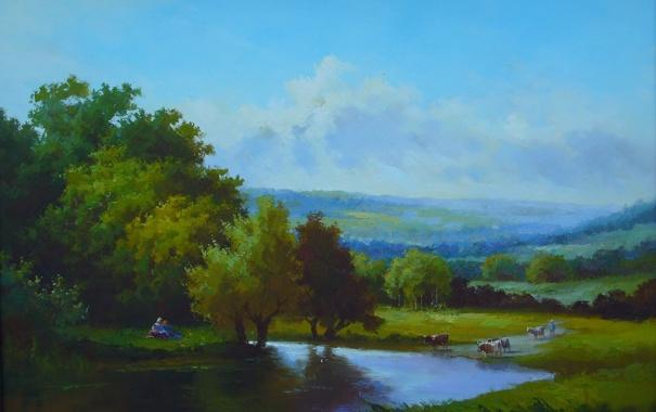 Фото обои пейзажи, рисунок, картина, арт, рисунки, картины, классика