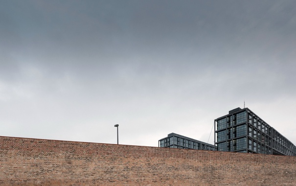Фото обои город, дом, забор