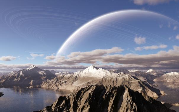 Фото обои облака, горы, озеро, планета, кольца