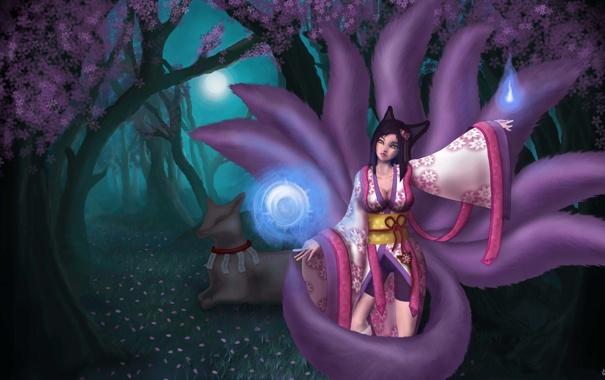 Фото обои девушка, деревья, магия, лиса, кимоно, league of legends, ahri
