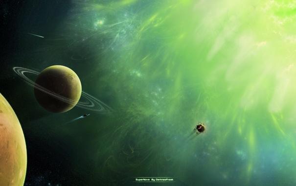 Фото обои взрыв, звезда, планеты, сверхновая, spaceships