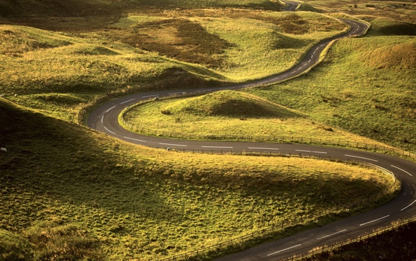 Фото обои дорога, трава, лучи, поля