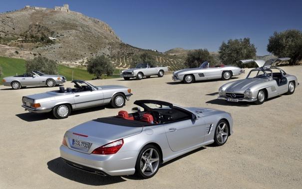 Фото обои Мерседес, небо, СЛ-класс, Mercedes-Benz, SL-Klasse, разные поколения