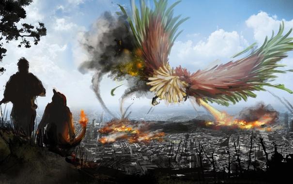 Фото обои город, люди, огонь, птица, дым, фэнтези, арт