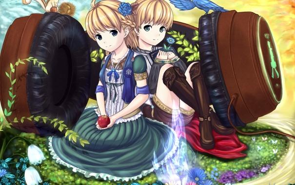 Фото обои цветы, музыка, птица, наушники, бурундук, полянка, аниме. музыка