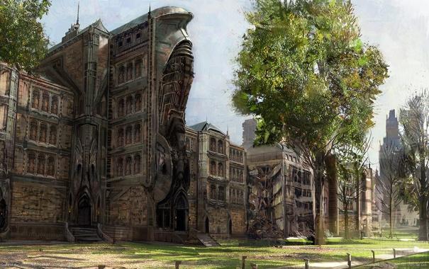 Фото обои город, дерево, здания, арт, gears of war