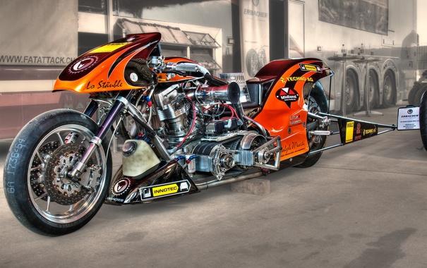 Фото обои дизайн, мотоцикл, драгстер, байк, HDR, форма