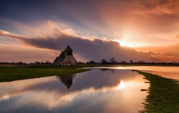 Фото обои природа, церковь, расвет, Kent, Fairfield Church, Romney Marsh, Fairfield