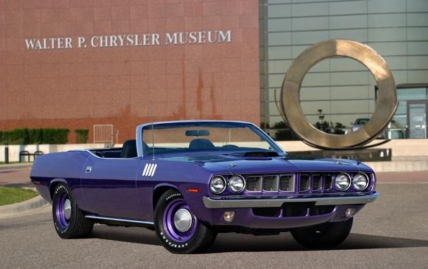 Фото обои фиолетовый, 1971, кабриолет, мускул кар, muscle car, Plymouth, violet