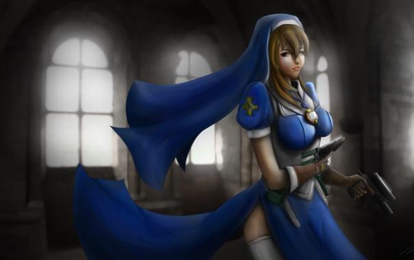 Фото обои девушка, оружие, арт, храм, Крестовый поход Хроно, Chrono Crusade