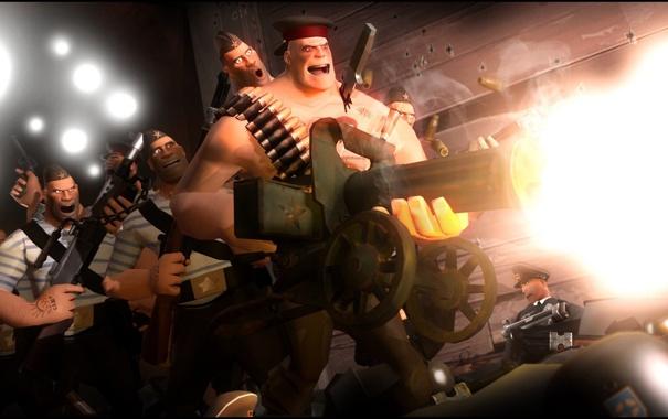 Фото обои Team Fortress 2, war, heavy, russian