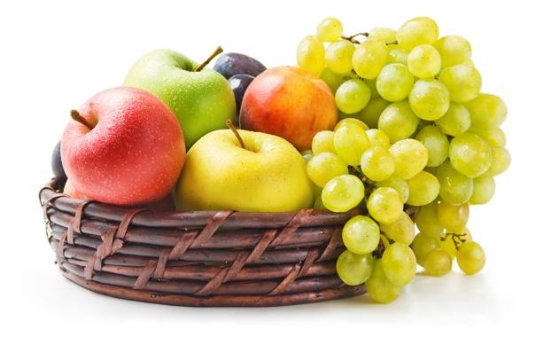 Фото обои ягоды, яблоки, виноград, фрукты, нектарин