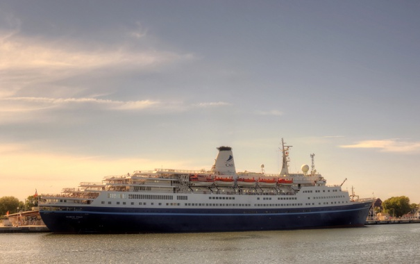 Фото обои небо, река, фото, корабль, круизный лайнер, Marco Polo
