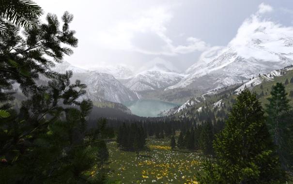 Фото обои снег, деревья, горы, природа, озеро, долина, арт