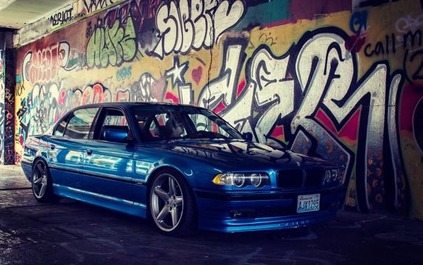 Фото обои стена, тюнинг, бмв, графити, stance, bmw e38, 750il