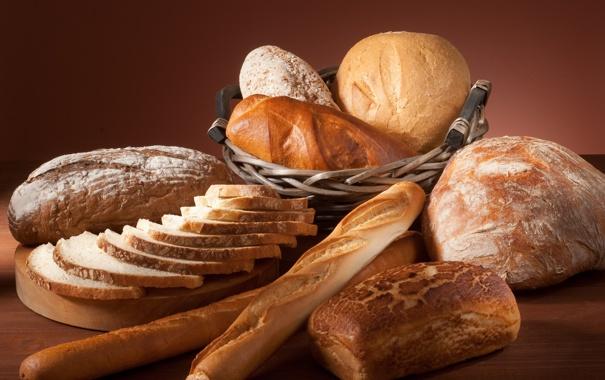 Фото обои корзина, хлеб, доска, разный, батоны, нарезной