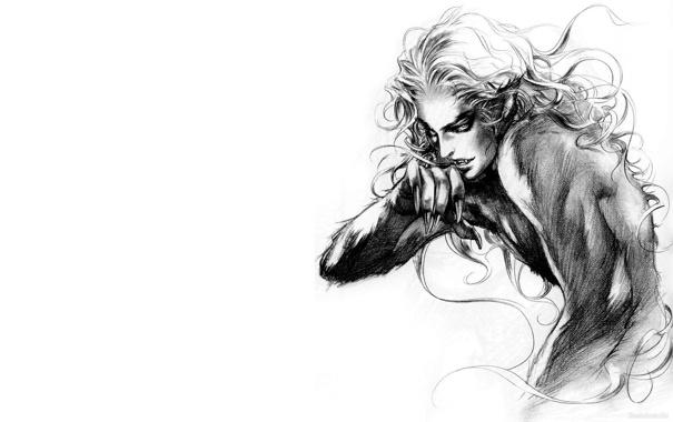 Фото обои черно-белый, вампир, мужчина, блондин