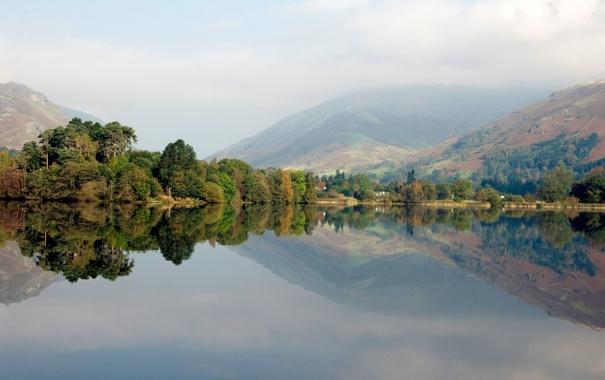 Фото обои лес, деревья, пейзаж, природа, озеро, отражение, холмы