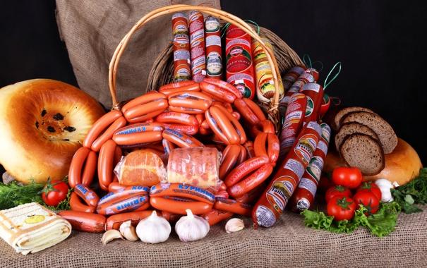Фото обои сосиски, еда, мясо, Колбаса