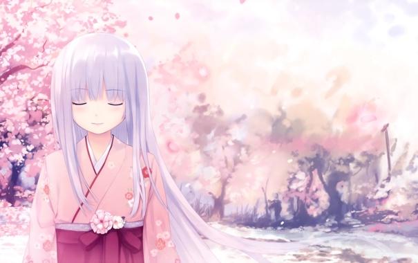 Фото обои девушка, аниме, сакура, арт, кимоно, длинные волосы, Coffee Kizoku