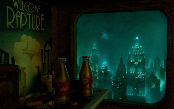Фото обои город, комната, rapture, под водой, bioshock 2, восторг, добро пожаловать