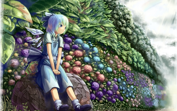 Фото обои лето, цветы, аниме, сад, девочка