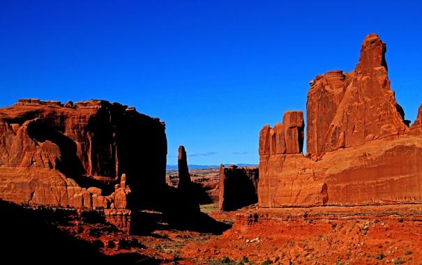 Фото обои закат, камни, скалы, небо, природа, горы