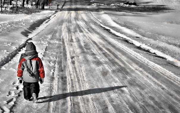 Фото обои winter, child, walking, Brier, selective color