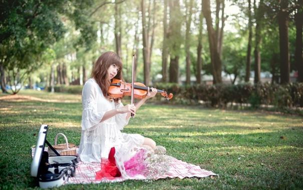 Фото обои девушка, музыка, скрипка, азиатка