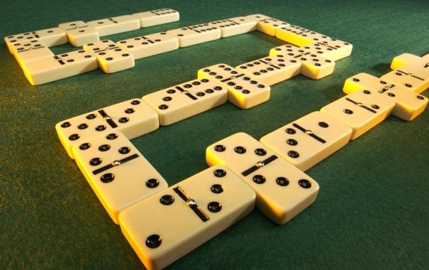 Фото обои полотно, игра, цифры, зеленое, домино