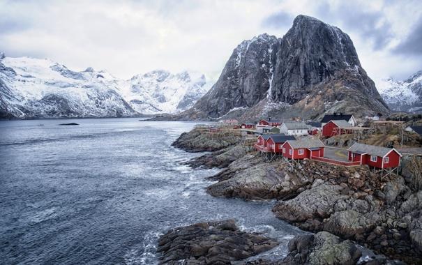 Фото обои море, горы, дома, Норвегия