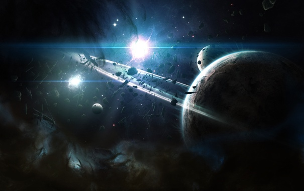 Фото обои обломки, планеты, пыль, кольца, звездная