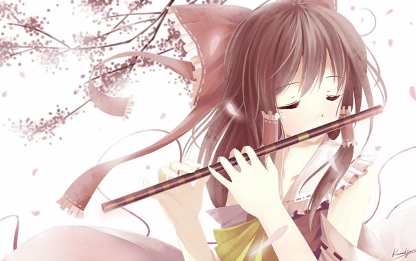 Фото обои весна, аниме, сакура, девочка, флейта