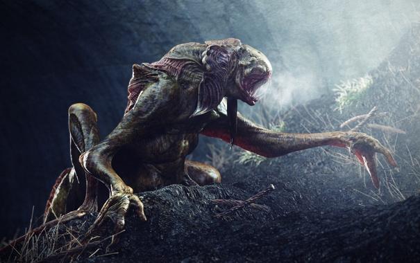 Фото обои земля, монстр, зубы, лапы, пещера, слизкий