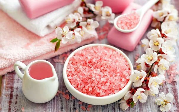 Фото обои цветы, полотенце, мыло, яблоня, спа, соль
