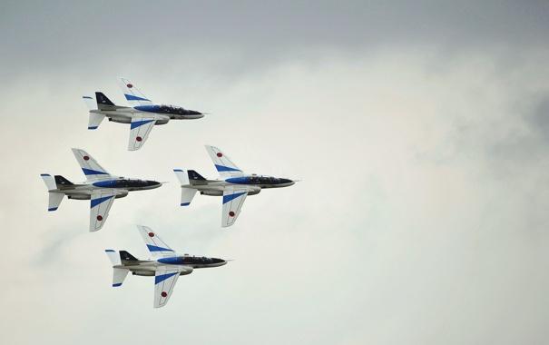 Фото обои JASDF, Kawasaki T-4, Blue Impulse, пилотаж