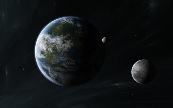 Фото обои звезды, планета, спутники, звездная система