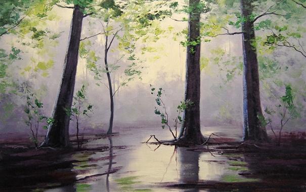 Фото обои рисунок, арт, artsaus, wet forest