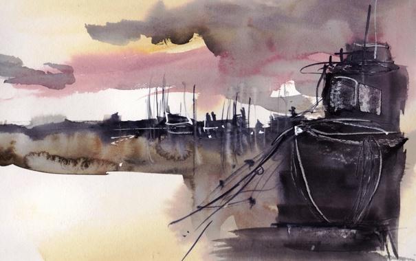 Фото обои корабль, картина, акварель