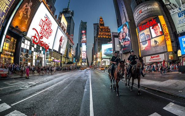 Фото обои город, ночь, New York