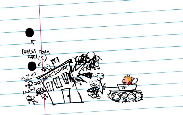 Фото обои рисунок, здание, выстрел, танк, тетрадь