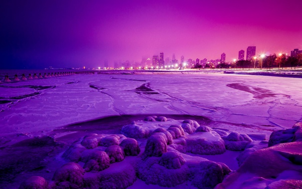 Фото обои зима, снег, ночь, город, огни, небоскребы, Чикаго