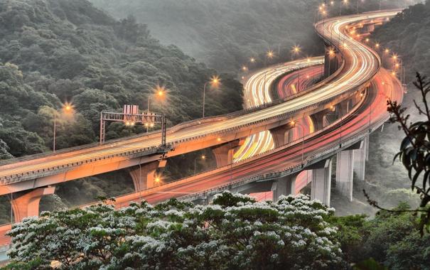 Фото обои дорога, свет, огни, весна, выдержка, Тайвань, хайвей