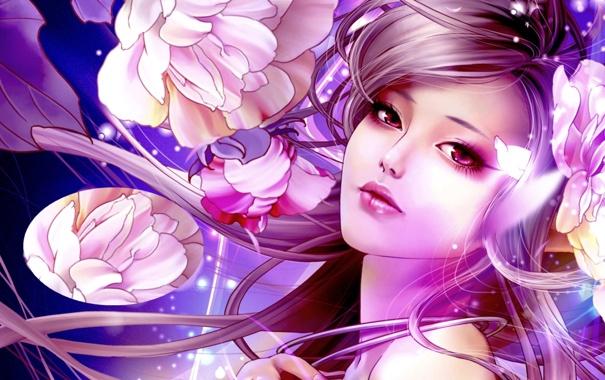 Фото обои face, flowers, oriental, woman