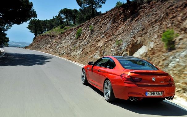 Фото обои Дорога, BMW, Машина, Бумер, Оранжевый, Coupe, Купэ