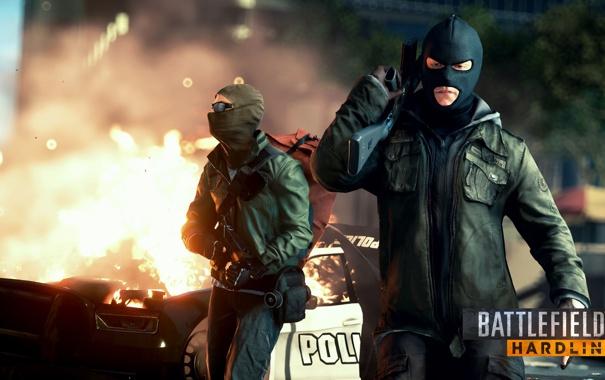 Фото обои огонь, маски, преступники, Battlefield: Hardline