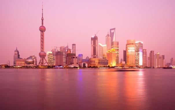Фото обои закат, город, техно, вечер, большой, City