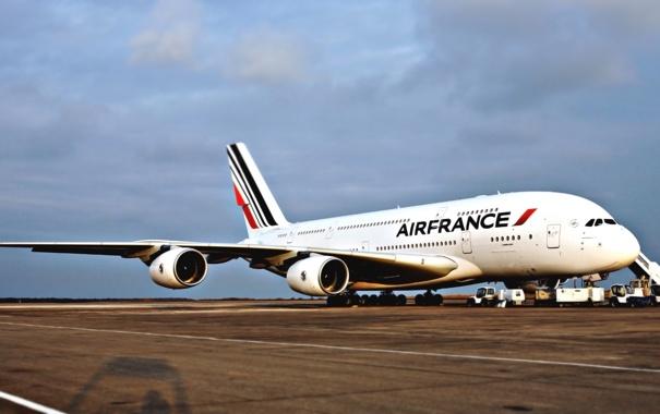 Фото обои Самолет, Стоит, Авиация, A380, Airbus, Air France, Авиалайнер